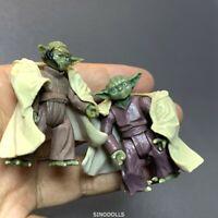 2 PCS 2.5''  Yoda Jedi STAR WARS Action Figure Yoda master Toy