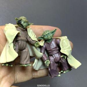 2 PCS 2.5''  Yoda Jedi STAR WARS Action Figure Yoda master Toys gift trooper #C6
