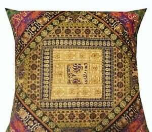 """33% OFF 30"""" GREEN TRADITIONAL DÉCOR SARI EMBROIDERY THROW CUSHION PILLOW COVER"""