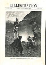 Evènements de Macédoine soldats de Turquie voie chemin de fer GRAVURE 1903