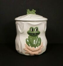 "1990 ""Frog on Lilly Pad"" Cookie Jar / Canister from Kimple Mold Corp USA"