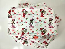 Disney Minnie Mouse Christmas Cotton Flannel Full Fitted Sheet + Flat Sheet