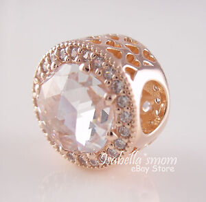 RADIANT HEARTS Genuine PANDORA Rose GOLD Plated/Clear Zirconia Charm 2017 NEW