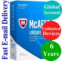 McAfee LiveSafe UNLIMITED DEVICE / 6 YEAR (Account Subscription) 2021