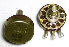 Paire potentiomètres 50 ohms à piste moulée 20% lin. NOS qualité militaire