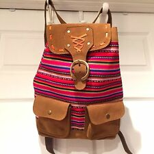 EUC BACKPACK Book Bag Southwestern Woven Multi-Color BLANKET Leather Trim