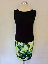 MARCCAIN BLACK & LIME GREEN LEAF PRINT STRETCH PENCIL DRESS SIZE N1 UK 8/10
