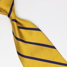 Brooks Brothers Silk Necktie Yellow Gold Blue Repp Stripe Twill Weave Woven Tie