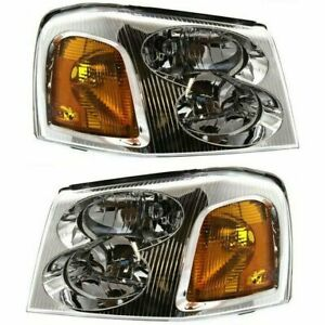 New Set of 2 LH & RH Composite Headlights Assembly Clear For GMC Envoy 2002-2009