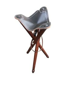 Real Leather Folding Tripod Stool Seat Outdoor Camping Armoury three Legged