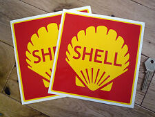 "SHELL Red Square Car Stickers 6"" Pair Race Rally Classic Ferrari Maserati Racing"