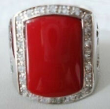 Exquisite red coral silver men's ring size:10-11