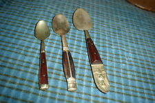Siam Bronze Flatware Baby Spoon Mix Set of 3 Wood Handles Buddha Thailand