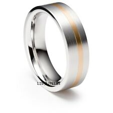 MENS 18K TWO TONE GOLD WEDDING BANDS RINSG SATIN WHITE &ROSE GOLD 6MM