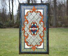 "Tiffany Style Jeweled stained glass window panel. 20.5""W x 34.75""H"