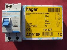Réf AD910F OU ADC910F DISJONCTEUR DIFFERENTIEL HAGER 1P+N 10A 30mA TYPE AC NEUF