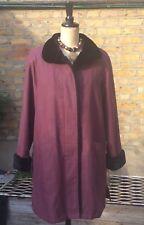 Vintage BHS Women's Faux Fur Plum Coat UK 14 EUR 42