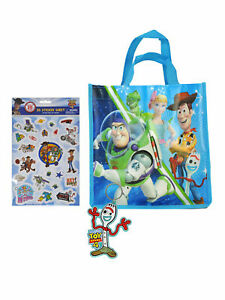 """Toy Story 4 Forky Key Chain & 10"""" Tote Bag & 3D Stickers (20-CT) 3-Piece Set"""