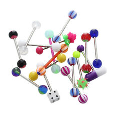 16 X Assorted Tongue Nipple Bar Ring Barbell Piercing J1S9