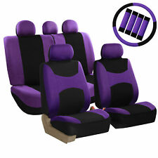 Auto Seat Cover For Car Truck SUV Van w/ Steering Cover Belt Pads Purple