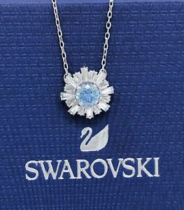New Authentic SWAROVSKI Sparkle Crystal Sunshine Blue Pendant Necklace 5536742