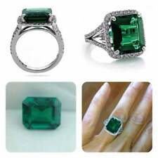 6Ct Emerald Cut Green Emerald Halo Engagement Ring Solid 14K White Gold Finish