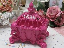 ORNATE TRINKET BOX~GLOSSY JEWEL PINK~METAL LID~RESIN~Shabby~Cottage~Chic