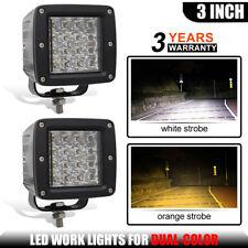 3X3INCH Led Work Light Bar Cube PODS Off road Fog Lamp white Amber Strobe Flash