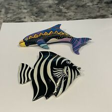 New ListingLot Of 2 Costume Jewelry Brooches Pins Hand Painted Fish / Dolphin