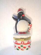 Porcelain Limoge Penguin Christmas Trinket Box Hinged Candy Cane