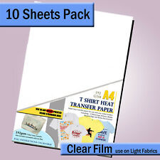 T shirt transfer paper for Light Fabric - A4 - 10 Sheet Pk - For INKJET printers