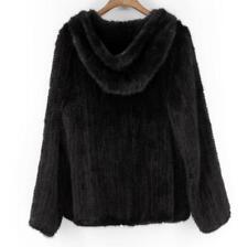 Classic Style Manteau Fourrure Vraie d'élevage Vison Veste à capuche Tricoté Zip