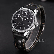 Parnis Sapphire Miyota Automatic Men's Watch 42mm Stainless Case Leather Strap