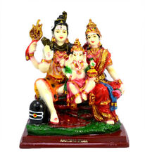 Hand Carved Shiva Parvati and Ganesh Resin Statue Idol Size 6 Inches AIRS4014A