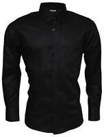Relco Black Oxford Cotton Shirt Long Sleeve Button Down Retro Vintage Mod Mens