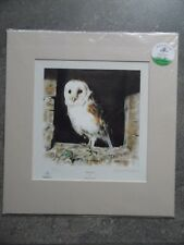Barn Owl, Mandy Shepherd Signed LE Mounted Print with COA. Listed