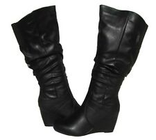 Women's Fashion Boots Black Wedge Fur Lined Shoes Winter Snow Ladies size 10