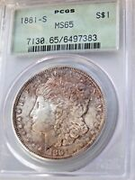 Kaleidoscope 1881-S Morgan Silver Dollar ~ OLD PCGS MS-65+ TRULY Amazing Colors!