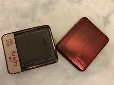 Levis Mens Grey Leather Mens Bifold Wallet W/ Pressed Logo New In Metal Box
