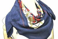 """Authentic HERMES Scarf """"SELLIER"""" Silk Navy Blue B9051"""