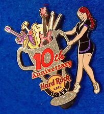 OSAKA 10TH ANNIVERSARY SERVER GIRL MUSIC INSTRUMENTS TROPHY Hard Rock Cafe PIN