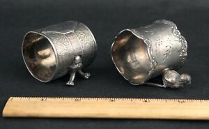 2 Antique c1900 Victorian Figural Silverplate Aesthetic Napkin Ring Holders
