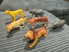 Plastic Animals Lion Hippo Chester Elephant Tiger x7