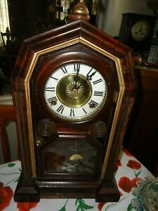Antique American Clock. E.N. Welsch 1870 with Eagle Finial
