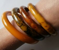HUGE ANTIQUE ART DECO AMBER BAKELITE BANGLES / LOT DE BIJOUX ANCIENS 1930 70 GRS
