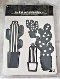 DARICE Die Cut & Embossing Stencil - POTTED CACTI cactus 4pc set **LAST STOCK**
