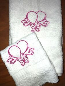 Embroidered White Bathroom Hand Towel / Wash Cloth Pink Happy Birthday Balloons
