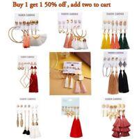 Womens 6 Pairs Bohemian Tassel Earrings Set Ear Stud Drop Dangle Jewelry Gifts