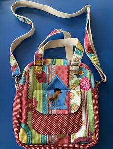 New ~ Handcrafted Floral & Tropical Bird Bright Colour Crossbody Messenger Bag