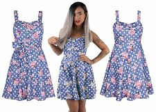 Women Ladies Floral Sleveless A line Party Pleated Skirt Floral Tea Style Dress